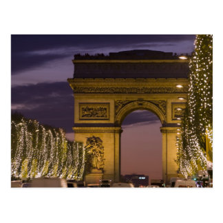 Christmas lights, Champs Elysees, Arc de Postcard