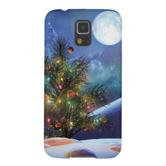 Christmas lights decorated tree moon night case