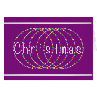 Christmas Lights Design on Purple with Silver Greeting Card