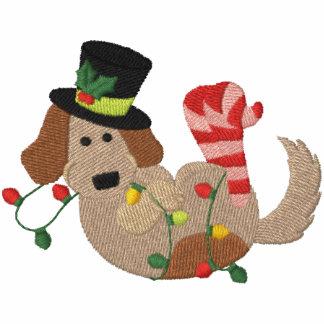 Christmas Lights Dog Embroidered Hoody