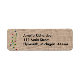 Christmas Lights Faux Burlap Mailing Label