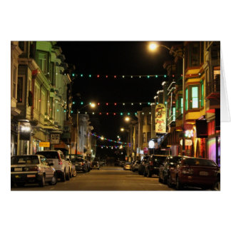 Christmas Lights in North Beach, San Francisco, CA Greeting Card