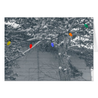 Christmas lights in snow greeting card