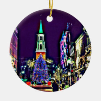 Christmas Lights in the City Ceramic Ornament