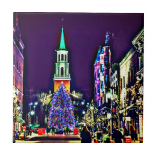 Christmas Lights in the City Ceramic Tile