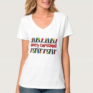 Christmas Lights Ladies V-Neck Holiday T-Shirt