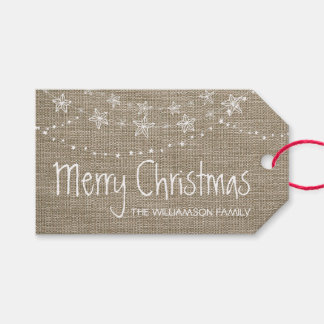 Christmas Lights on Faux Burlap | Gift Tag
