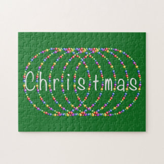 Christmas Lights on Green Jigsaw Puzzle