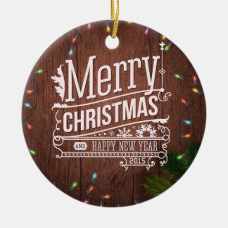 Christmas Lights Round Ceramic Decoration