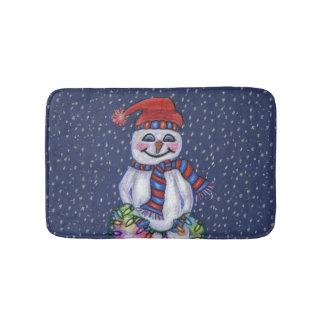 Christmas Lights Smiling Snowman Snowflakes Bath Mat