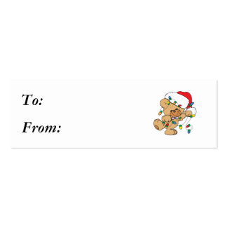 Christmas Lights Teddy Bear Pack Of Skinny Business Cards