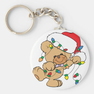 Christmas Lights Teddy Bear Basic Round Button Key Ring