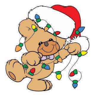 Christmas Lights Teddy Bear Standing Photo Sculpture
