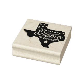 Christmas Lights Texas Home Rubber Art Stamp