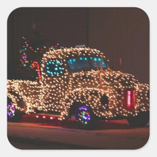 Christmas lights Vintage truck Square Sticker