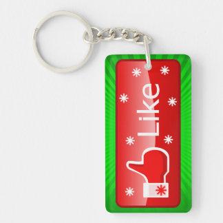 Christmas Like Button Double-Sided Rectangular Acrylic Key Ring