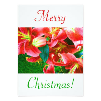 "Christmas Lilies III 5"" X 7"" Invitation Card"