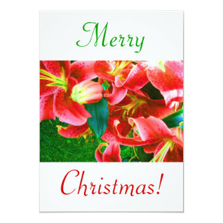 "Christmas Lilies IV 5"" X 7"" Invitation Card"