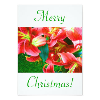 "Christmas Lilies V 5"" X 7"" Invitation Card"
