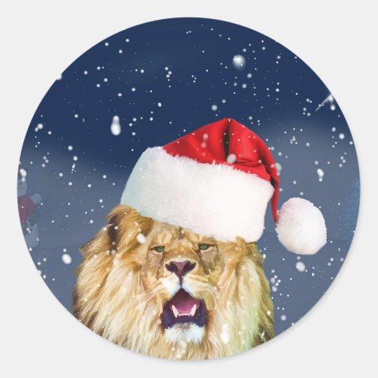 Christmas lion in santa hat sticker zazzle