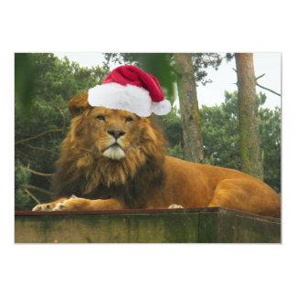 Christmas Lion Wearing Santa Hat Card
