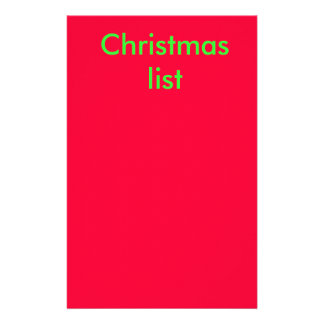Christmas list stationery paper