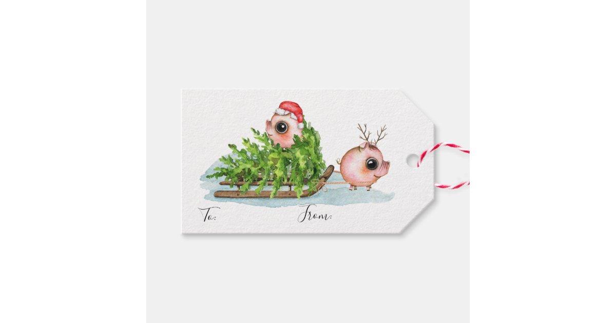Christmas Little Pig Pulling Sled Gift Tags   Zazzle.com.au