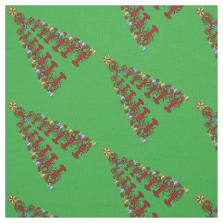 Christmas Lobster tree Nautical beach fabric green