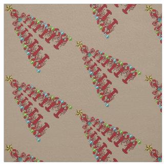 Christmas Lobster tree Nautical beach fabric taupe