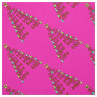 Christmas Lobster tree Nautical  fabric pink