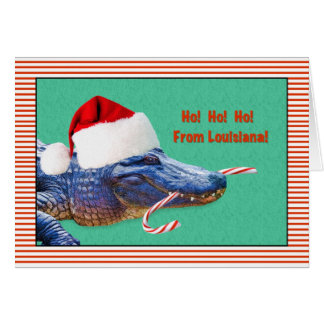Christmas, Louisiana, Alligator with Santa Hat Card