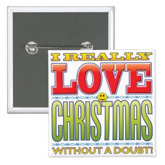 Christmas Love Face 15 Cm Square Badge