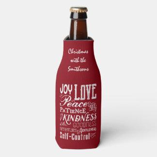 Christmas Love Joy Fruit of the Spirit Typography Bottle Cooler