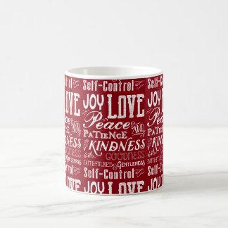 Christmas Love Joy Fruit of the Spirit Typography Coffee Mug