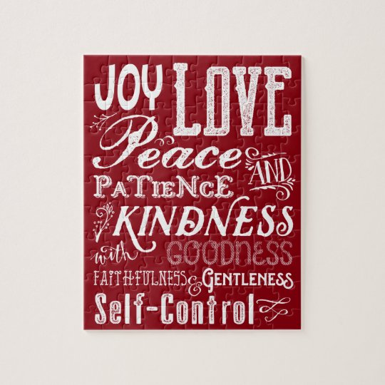 Christmas Love Joy Fruit of the Spirit Typography Jigsaw Puzzle