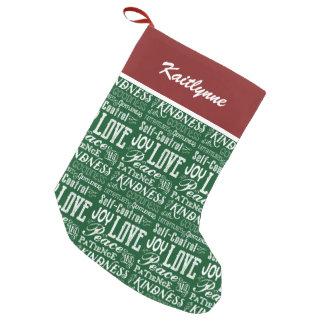 Christmas Love Joy Fruit of the Spirit Typography Small Christmas Stocking