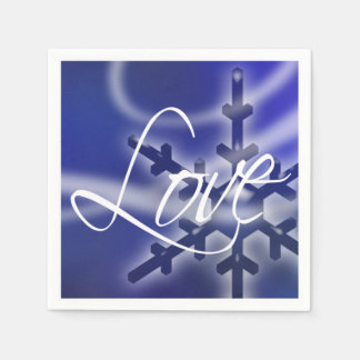 Christmas Love Snowflake Holidays Winter Weddings Paper Napkin