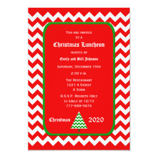 Christmas Luncheon Invitation Red Chevron