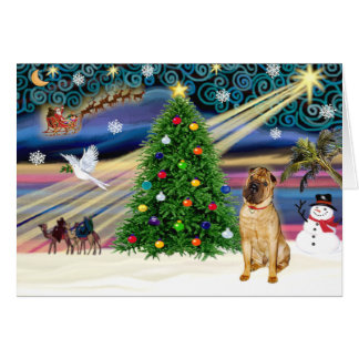 Christmas Magic Chinese Shar Pei (fawn) Card