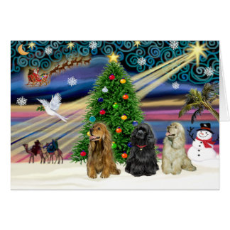 Christmas Magic Cocker Spaniels (three) Card