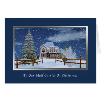 Christmas, Mail Carrier, Snowy Winter Scene Greeting Card