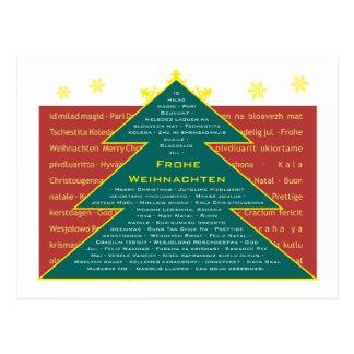 Christmas mail map fir tree internationally postcard