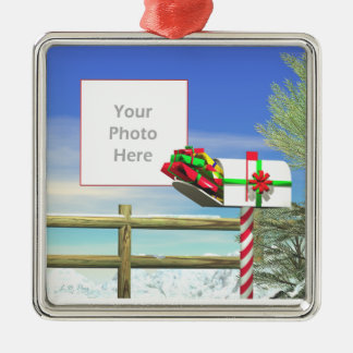 Christmas Mail (photo frame) Silver-Colored Square Decoration