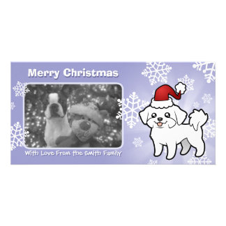 Christmas Maltese (puppy cut) Customised Photo Card