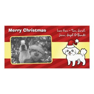 Christmas Maltese (puppy cut) Photo Greeting Card
