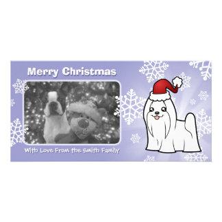 Christmas Maltese (show cut) Custom Photo Card