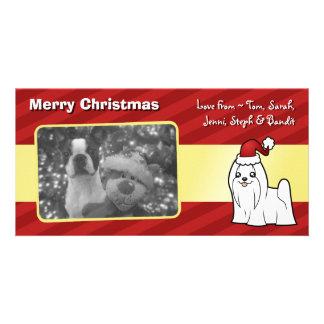 Christmas Maltese (show cut) Photo Card Template
