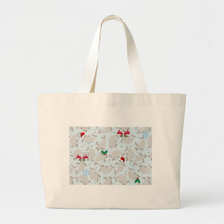 christmas manatee large tote bag