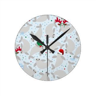 christmas manatee round clock
