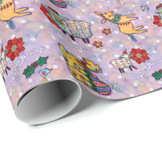 Christmas Manger Animals Wrapping Paper